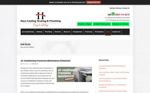 Screenshot of Blog hayscoolingandheating.com - HVAC & Plumber Blog: Air Conditioning – Heating – Plumbing Tips - captured June 18, 2019