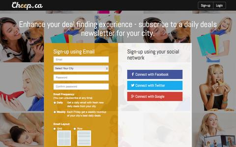 Screenshot of Signup Page cheep.ca - Create an Email Subscription - captured Oct. 2, 2014