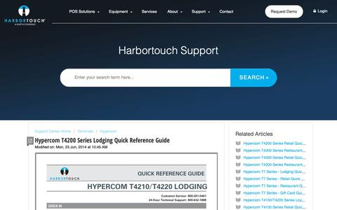 Screenshot of Support Page harbortouch.com - Hypercom T4200 Series Lodging Quick Reference Guide : Harbortouch Support Center - captured Oct. 9, 2018