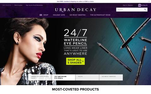 Screenshot of Home Page urbandecay.com captured Oct. 23, 2015