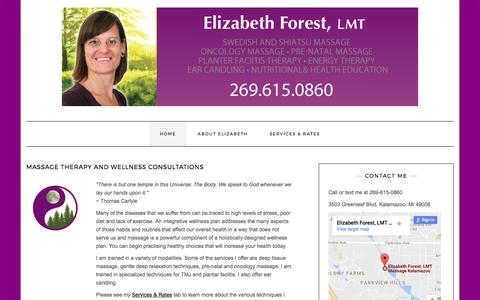 Screenshot of Home Page elizabethforestwellness.com - Massage Therapy and Wellness Consultations | Elizabeth Forest Wellness - captured May 16, 2017