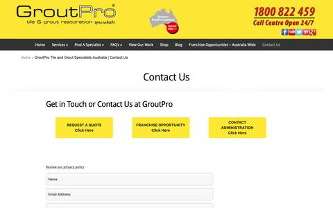Screenshot of Contact Page groutpro.com.au - GroutPro Tile and Grout Specialists Australia | Contact Us - captured Sept. 30, 2018