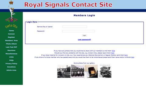 Screenshot of Login Page royal-signals.org.uk - Login - captured June 5, 2016