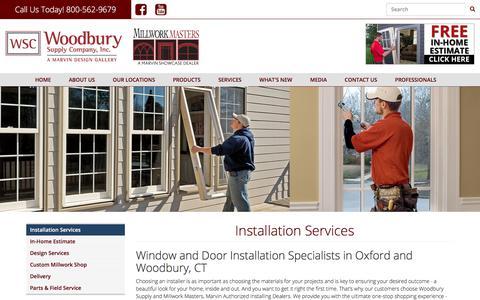 Screenshot of Services Page woodburysupply.com - Installation Services | Woodbury Supply - captured Nov. 20, 2017