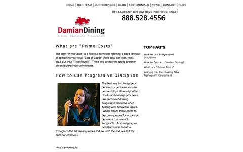 Screenshot of FAQ Page damiandining.com - Answer to Restaurant Operations Questions - captured Oct. 27, 2014