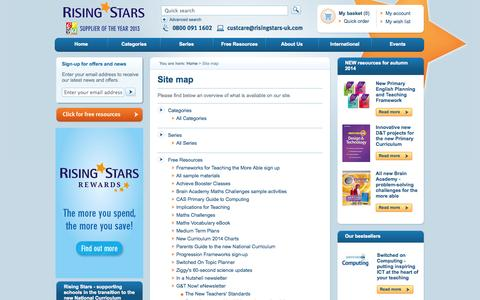 Screenshot of Site Map Page risingstars-uk.com - Rising Stars - Educational Publishing Specialists - captured Oct. 7, 2014