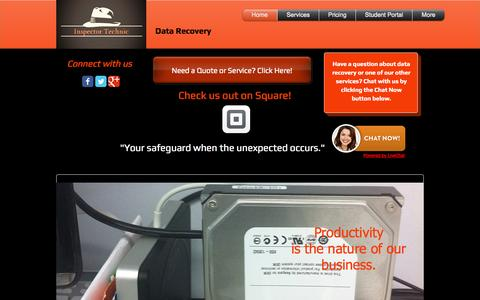 Screenshot of Home Page inspectortechnic.com - Inspector Technic Data Recovery Chicago - captured Oct. 6, 2014