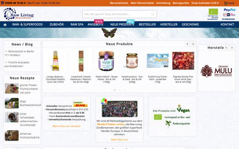 Screenshot of Home Page raw-living.de - Raw Living Deutschland - Rohkost & Superfoods - captured Oct. 19, 2018