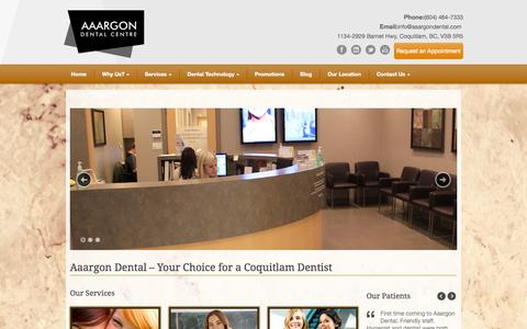 Screenshot of Home Page aaargondental.com - Coquitlam dentist Coquitlam Dentist Aaargon Dental Centre - Dentist in Coquitlam - captured Sept. 30, 2014