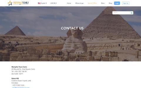 Screenshot of Contact Page memphistours.com - Memphis Tours Egypt Contact Us - captured Sept. 27, 2018
