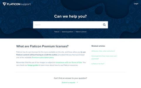 Screenshot of FAQ Page flaticon.com - What are Flaticon Premium licenses? – Flaticon - captured Nov. 28, 2019
