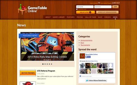 Screenshot of Press Page gametableonline.com - News - captured Sept. 24, 2014