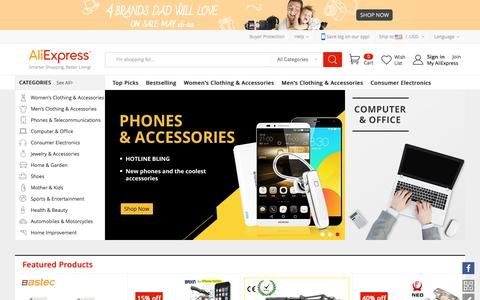 Screenshot of aliexpress.com - AliExpress.com– Buy cheap products with high quality online from China. - captured May 17, 2016