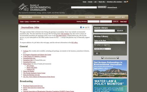 Screenshot of Jobs Page sej.org - Journalism Jobs | SEJ - captured Sept. 19, 2014