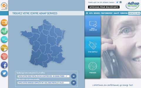 Screenshot of Contact Page adhapservices.fr - Contactez-nous | ADHAP - captured Sept. 24, 2014