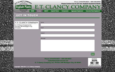 Screenshot of Contact Page etclancy.com - Contact E.T. Clancy - captured April 27, 2017