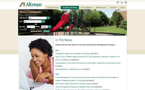 Screenshot of Press Page altmanco.com - Altman Management Company - In The News - captured Oct. 2, 2014