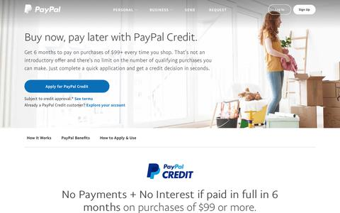 PayPal Credit | Line of Credit | PayPal US