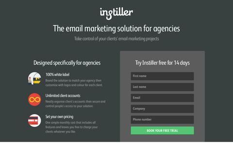 Screenshot of Landing Page instiller.co.uk - Book a free & unlimited 14 day trial of instiller today! - Instiller - captured Dec. 30, 2015