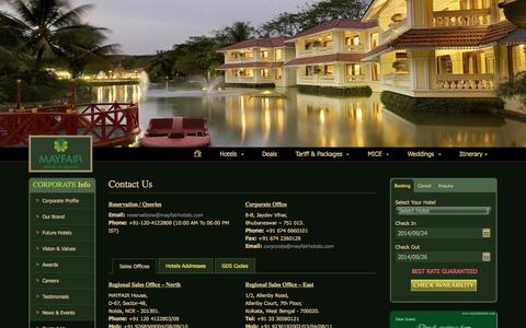 Screenshot of Contact Page mayfairhotels.com - Contact Us - MAYFAIR Hotels & Resorts - captured Sept. 24, 2014