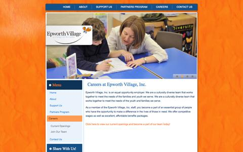 Screenshot of Jobs Page epworthvillage.org - Careers at Epworth Village   York Nebraska - captured Oct. 8, 2014