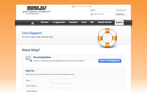 Screenshot of Support Page india.dj - Contact domain provider - captured Nov. 2, 2014