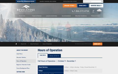Screenshot of Hours Page revelstokemountainresort.com - Hours of Operation    Revelstoke Mountain Resort British Columbia, Canada - captured Oct. 20, 2018