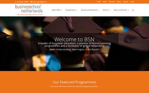 Screenshot of Home Page bsn.eu - Home - BSN - Business School Netherlands - captured Dec. 25, 2016