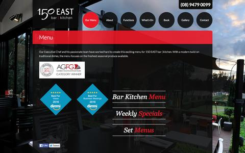 Screenshot of Menu Page 150east.com.au - Menu | 150 EAST bar kitchen - captured March 29, 2016