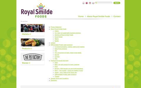 Screenshot of Site Map Page smildefoods.nl - Smilde Foods : - captured Oct. 10, 2018