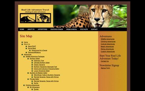 Screenshot of Site Map Page reallifeadventuretravel.com - Real Life Adventure Travel, African Climbing Adventures, Mt. Kilimanjaro, Mt. Meru, Mt. Kenya, Ol Doinyo Lengai Volcano - captured Oct. 26, 2014