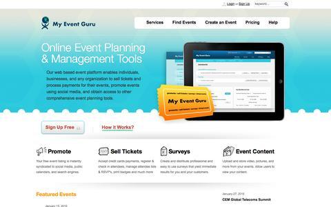 Screenshot of Home Page myeventguru.com - My Event Guru - Home - captured Oct. 7, 2014