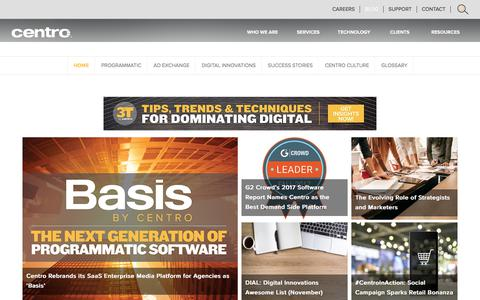 Screenshot of Blog centro.net - Centro Blog | Digital Advertising, Planning and Buying - captured Nov. 14, 2017