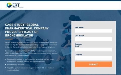 Screenshot of Landing Page ert.com - Case Study: Global Pharmaceutical Company Proves Efficacy of Bronchodilator - captured June 28, 2017