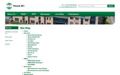 Screenshot of Site Map Page plextekrfi.com - Site Map | - captured Nov. 8, 2016