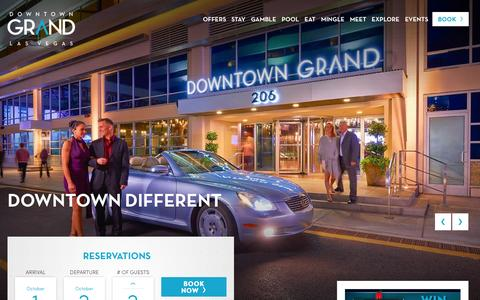 Screenshot of Home Page downtowngrand.com - Welcome to the Downtown Grand Hotel & Casino, Las Vegas - captured Oct. 1, 2015