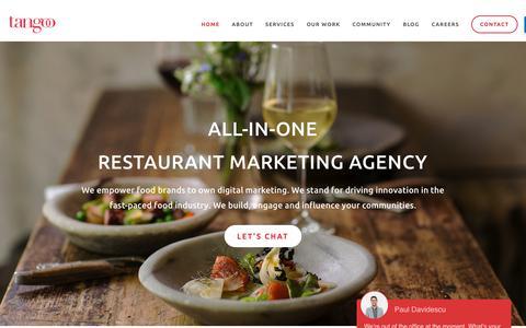 Screenshot of Home Page tangoo.ca - Tangoo   Vancouver Restaurant Social Media, PR, Creative Marketing Agency - captured Nov. 19, 2018