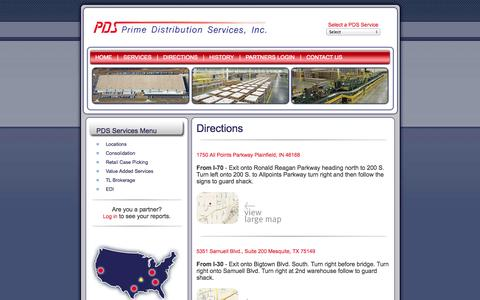 Screenshot of Maps & Directions Page pdsindy.com - Prime Distribution Services - Business Services Consolidation - captured Oct. 3, 2014