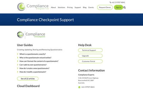 Screenshot of Support Page complianceexperts.com - Compliance Checkpoint Support - captured July 15, 2016