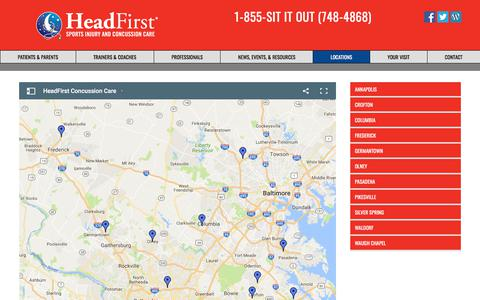 Screenshot of Locations Page myheadfirst.com - In collaboration with Righttime Medical Care at 11 convenient Maryland locations, HeadFirst Sports Injury and Concussion Care provides a community model concussion clinic for the diagnosis, management, and treatment of mild Traumatic Brain Injuries ( - captured July 25, 2017