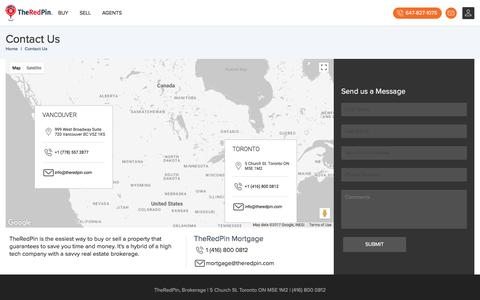 Screenshot of Contact Page theredpin.com - TheRedPin - Contact us in Toronto or Vancouver - captured Oct. 29, 2017