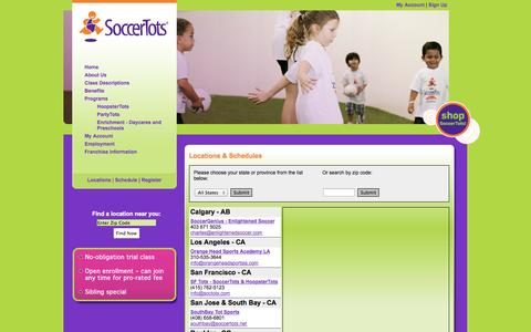 Screenshot of Locations Page soccertots.net - SoccerTots | Children Soccer | Youth Soccer | Toddler Soccer | Soccer for Kids - captured Sept. 30, 2014