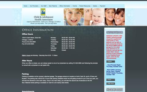 Screenshot of Hours Page cahadr.com - Office Hours/Location - Chicago, IL Pediatrician - Child and Adolescent Health Associates, LTD - captured Oct. 2, 2014