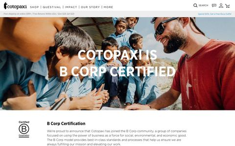 B Corp Certified                      – Cotopaxi