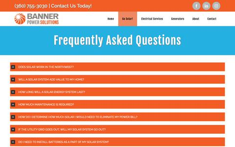 Screenshot of FAQ Page bannerpowersolutions.com - Frequently Asked Questions | Banner Power Solutions | Bellingham | Skagit - captured Nov. 6, 2018