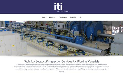 Screenshot of Home Page itiworld.com - ITI International | Technical Support & Inspection Services For Pipeline Materials - captured Feb. 10, 2016