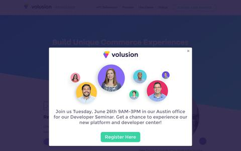 Screenshot of Developers Page volusion.com - Volusion Developer Center - captured June 15, 2018
