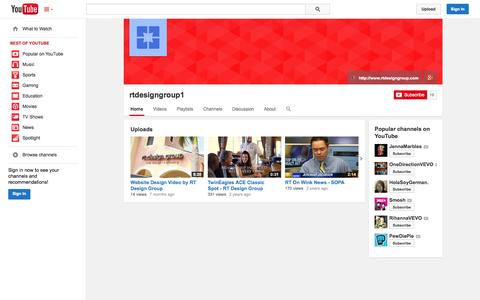 Screenshot of YouTube Page youtube.com - rtdesigngroup1  - YouTube - captured Oct. 26, 2014