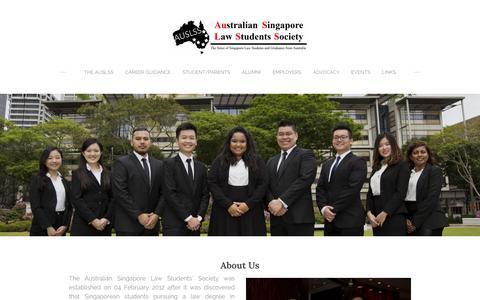 Screenshot of About Page auslss.net - About the AUSLSS - Australian Singapore Law Student Society (AUSLSS) - captured Feb. 6, 2016