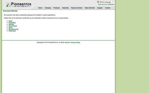 Screenshot of Case Studies Page pioneerpos.com - PioneerPOS Inc - captured Jan. 28, 2016